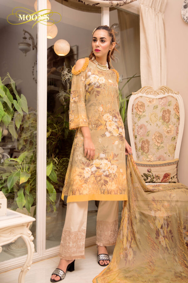 Designer Stitched Silk Three Piece Kamiz Set